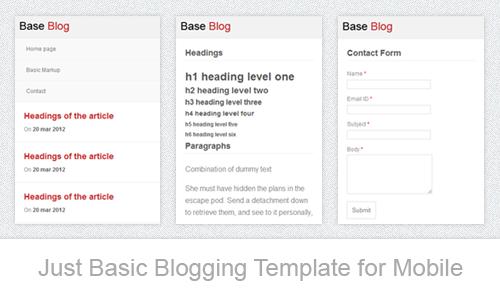 Шаблон для мобильного сайта блога